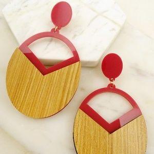 Wood Geo Shaped Resin Earrings